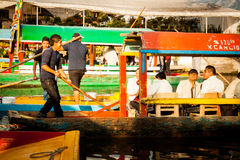 Colourful Mexican gondolas at Xochimilco's Floating Gardens in M Royalty Free Stock Image