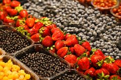 Colourful mix of different fresh berries at market.  Stock Image