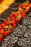 Colourful mix of different fresh berries at market.  Royalty Free Stock Images