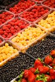 Colourful mix of different fresh berries at market.  Royalty Free Stock Photography