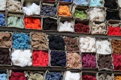 Cotton Fibres. A Colourful Mixed Collection of Stored Cotton Fibres stock image