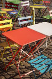 Colourful modern trendy tables and chairs at street cafe Royalty Free Stock Photo