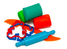 Colourful molding dough and cutters for children Stock Photos