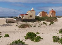 Colourful Moorish style houses on Fuerteventura Stock Images