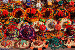 Colourful Moroccan hats on display Royalty Free Stock Photos
