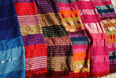 Colourful Moroccan textiles. Royalty Free Stock Images