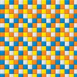Colourful mosaic with four colored squares. Colourful mosaic with blue, yellow, white and orange squares (seamless texture). Random pattern of squares Vector Illustration