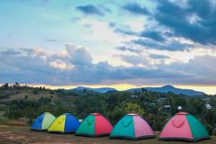 Colourful mountain tents in nature are the perfect place to relax. Colourful mountain tents in nature are the perfect place to relax in thailand stock photo