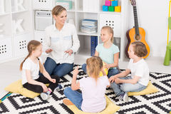 Colourful music classes in a friendly school royalty free stock photo