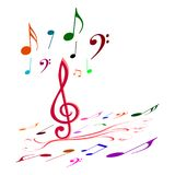Colourful music notes stock photos