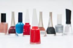 Colourful nail polish bottles Royalty Free Stock Image