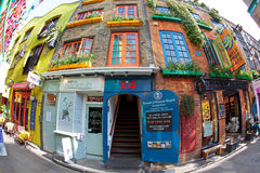 Colourful Neal's Yard near Covent Garden in London. Neal's Yard in London with spectacular colours and flora everywhere through fisheye lens Stock Photos