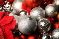 A colourful nest of christmas decorations Stock Image