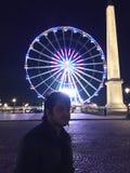 Colourful night city in Paris. Avenue in Paris city Stock Photos