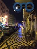 Colourful night street!!. Lisbon in Portugal Royalty Free Stock Photography