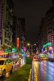 Colourful night streets of Taipei Royalty Free Stock Photos
