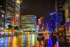 Colourful night streets of Taipei Stock Images
