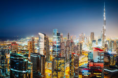 Colourful nighttime skyline of Dubai with world`s tallest skyscrapers Royalty Free Stock Image