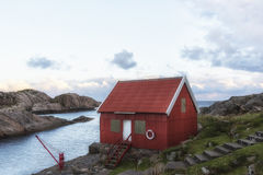 Colourful Norwegian Red Shed Stock Image