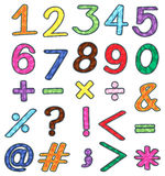 Colourful numbers and mathematical operations Stock Images