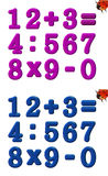 Colourful numbers school. Colourful numbers from 0 to 9 and signs on white background - for school preschool Royalty Free Stock Image