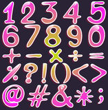 Colourful numbers and symbols Royalty Free Stock Images