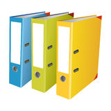 Colourful office folders on white background. 3 Colourful office folders on white background (isolated Royalty Free Stock Image