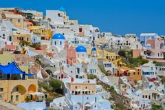 Colourful Oia village panorama Stock Images