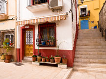 Colourful Old Houses in Alicante, Spain. Colourful small houses in the old quarter of Alicante, Spain Stock Photos