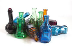 Colourful old style bottles Stock Images