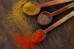 Colourful oriental spices on wooden spoons, wooden background Stock Images