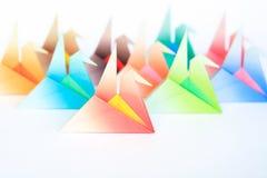 Colourful origami birds Stock Photos