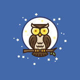 Colourful outline icon of a owl Royalty Free Stock Photo