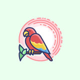 Colourful outline icon of a parrot Stock Photos