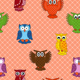 Colourful owl seamless pattern Royalty Free Stock Photo