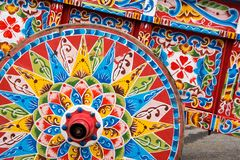 Colourful ox-cart Royalty Free Stock Photography