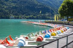 Colourful paddle boats royalty free stock images