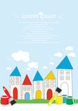 Colourful paint and brushes to decorate houses. Colourful tins of paint and brushes in rainbow colours in front of simple stylised houses with painted roofs and Royalty Free Stock Photography