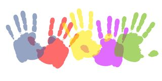 Colourful Paint Handprints. An illustration featuring a row of colourful painted handprints in blue, red, yellow, purple and green on white Stock Illustration