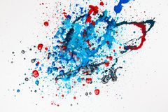 Colourful Paint Splashes. Isolated on white Royalty Free Stock Photography