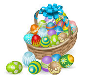 Colourful painted Easter eggs basket Royalty Free Stock Image
