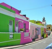 Colourful painted houses  in Bo-Kaap , Cape Town , South Africa Royalty Free Stock Photo