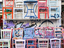 Colourful Painted Kitchen Chairs Royalty Free Stock Photography