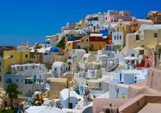 Colourful panorama of Oia village Stock Image