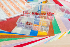 Colourful paper, card and decorations Stock Images