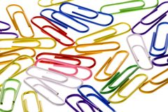 Colourful Paper Clips  Royalty Free Stock Image