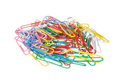 Colourful paper clips isolated on white Royalty Free Stock Photography
