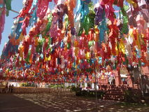 Colourful Paper lanterns hanging under blue sky Royalty Free Stock Photos