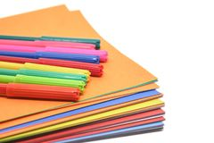 Colourful paper and magic pen on white background. With copy space for office and school stationary concept royalty free stock photography