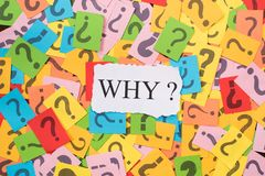 Colourful paper note with question mark and white paper with word WHY Royalty Free Stock Photography